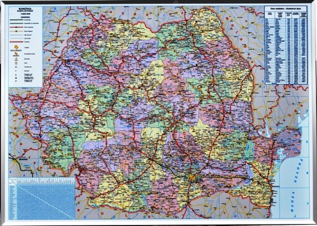 Harta Romaniei Administrativ Rutiera 140x100 Cm