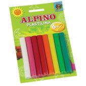 Plastilina standard, 6 + 2 neon x 17 gr./blister, ALPINO - 8 culori asortate