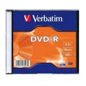 DVD-R , 4.7GB, 16X, carcasa slim, VERBATIM Matt Silver