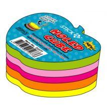 Notes autoadeziv cub cu gaura pentru pix, 400 file/set, 5 culori neon, HOPAX