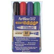 Marker pentru tabla de scris ARTLINE 517 - Dry safe ink, varf rotund 2.0mm, 4 culori/set