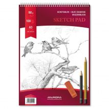 Bloc desen cu spirala, A3, 100 file - 90g/mp, pentru schite creion, AURORA Esquisse - hartie alba
