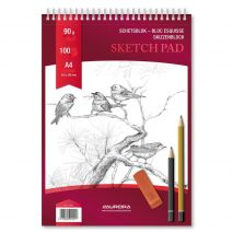 Bloc desen cu spirala, A4, 100 file - 90g/mp, pentru schite creion, AURORA Esquisse - hartie alba