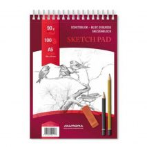 Bloc desen cu spirala, A5, 100 file - 90g/mp, pentru schite creion, AURORA Esquisse - hartie alba