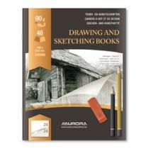 "Caiet desen A5, 24 file - 90g/mp, pentru schite creion, AURORA D""Art - hartie alba"