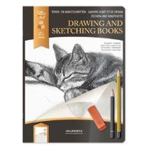 "Caiet desen A4, 24 file - 120g/mp, pentru schite creion, AURORA D""Art - hartie alba"