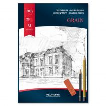 Bloc desen A3, 20 file - 200g/mp, AURORA Grain - carton alb