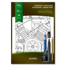 Bloc desen A4, 20 file - 210g/mp, pentru schite creion/marker, AURORA Bristol - carton alb