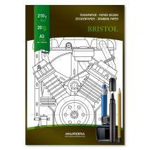 Bloc desen A3, 20 file - 210g/mp, pentru schite creion/marker, AURORA Bristol - carton alb