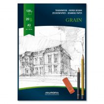Bloc desen A3, 20 file - 120g/mp, AURORA Grain - carton alb