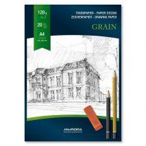 Bloc desen A4, 20 file - 120g/mp, AURORA Grain- hartie alba