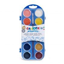 Acuarele lavabile, 12 culori/cutie + 1 pensula, CARIOCA