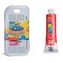 Tempera lavabila, 7 culori x 7.5ml/set + pensula gratis, CARIOCA
