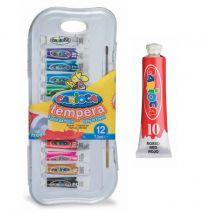 Tempera lavabila, 12 culori x 7.5ml/set + pensula gratis, CARIOCA