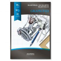 Hartie milimetrica A4, 50 file - 90g/mp, AURORA Raphael - fond albastru
