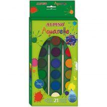 Acuarele 21 culori/cutie + 2 pensule gratis, Alpino