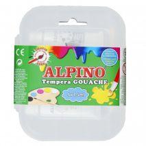 Tempera lavabila, 5 culori x 7.5ml/cutie + pensula gratis, Alpino Gouache