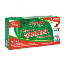 Tempera lavabila, 7 culori x 40ml/cutie + pensula gratis, Alpino
