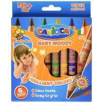 Creioane colorate cerate, rotunde, 6 culori/cutie, CARIOCA Baby Woody Wax Crayons