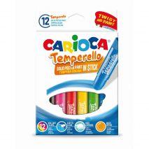 Creioane tempera, lavabile, 12 culori/cutie, CARIOCA Temperello