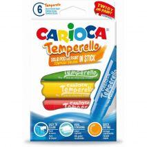 Creioane tempera, lavabile, 6 culori/cutie, CARIOCA Temperello