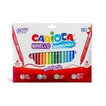 Carioca super lavabila, cu 2 capete, varf subtire/gros, 24 culori/cutie, CARIOCA Double Nib