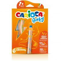 Creioane colorate, 3 in 1, 6 culori/cutie, CARIOCA Baby 1+