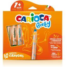 Creioane colorate, 3 in 1, 10 culori/cutie, CARIOCA Baby 1+