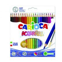 Creioane colorate, hexagonale, 24 culori/cutie, CARIOCA Acquarell