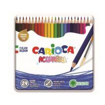 Creioane colorate, hexagonale, 24 culori/cutie metalica, CARIOCA Acquarell