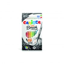 Carioca super lavabila, varf flexibil (tip pensula), 10 culori/cutie, CARIOCA Super Brush