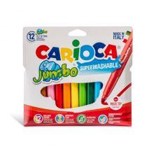 Carioca super lavabila, varf gros 6mm, 12 culori/cutie, CARIOCA Jumbo