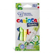 Carioca pentru textile, varf gros 6mm, 6 culori/cutie, CARIOCA Fabric