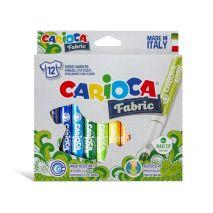 Carioca pentru textile, varf gros 6mm, 12 culori/cutie, CARIOCA Fabric