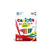 Carioca lavabila, varf gros 6mm, 9 culori+1 erasable marker/cutie, CARIOCA Erasable