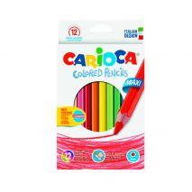 Creioane colorate, hexagonale, 12 culori/cutie, CARIOCA Maxi