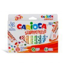 Set 12 markere lavabile, cu 12 stampile diverse forme, cutie carton, CARIOCA Stamp markers