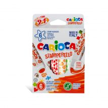 Set 6 markere lavabile, cu 6 stampile diverse forme, cutie carton, CARIOCA Stamp markers