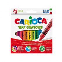 Creioane cerate rotunde, lavabile, 12 culori/cutie, CARIOCA Wax Crayons