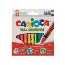Creioane cerate rotunde, lavabile, 24 culori/cutie, CARIOCA Wax Crayons