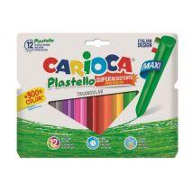 Creioane cerate triunghiulare, lavabile, 12 culori/cutie, CARIOCA Pastello Maxi
