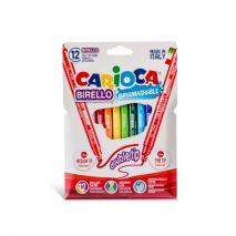Carioca super lavabila, cu 2 capete, varf subtire/gros, 12 culori/cutie, CARIOCA Double Nib