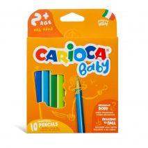 Creioane colorate, triunghiulare, 10 culori/cutie, CARIOCA Baby 2+