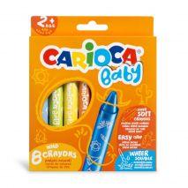 Creioane cerate, rotunde, lavabile, 8 culori/cutie, CARIOCA Baby Wild Crayons 2+