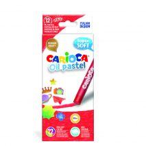 Creioane cerate rotunde, 12 culori/cutie, CARIOCA Oil Pastel Crayons Maxi
