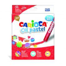 Creioane cerate rotunde, 24 culori/cutie, CARIOCA Oil Pastel Crayons Maxi