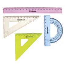 Set geometrie mic, contine: rigla 20cm, raportor, echer 10.5cm si echer 15cm, DONAU - culori asortat