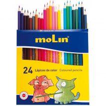 Creioane colorate, corp hexagonal, 24 culori/set, MOLIN Color Plus