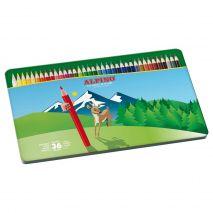 Creioane colorate, cutie metal, 36 culori/set, ALPINO