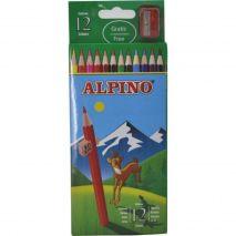 Creioane colorate, cutie carton, 12 culori/set, ALPINO